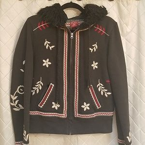 RARE Lucky Brand embroidered hooded sweatshirt  L